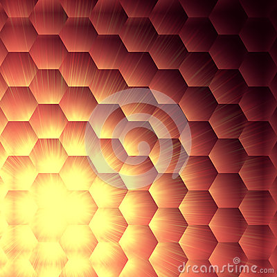 Yellow lights in violet hexagons background