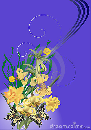 Yellow lily and butterflies on blue