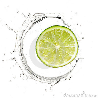 Yellow lime in water splash