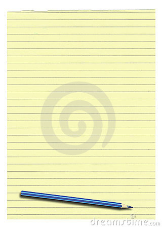 Free Yellow Lined Paper And Pencil Royalty Free Stock Images - 18734049