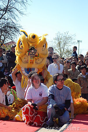 A yellow lion in Chinatown Editorial Stock Image