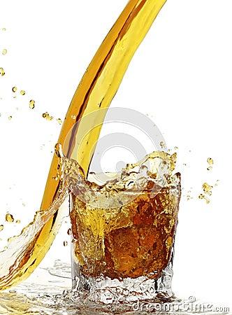 Yellow liquid splash