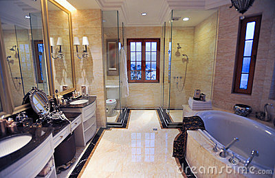 Yellow marble bathroom