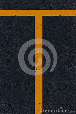 Yellow marking on black asphalt