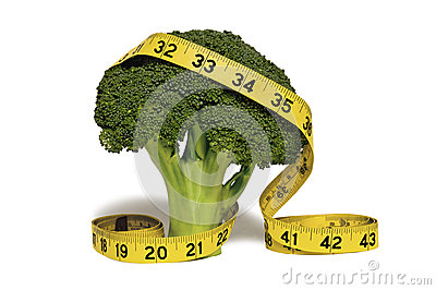 Measuring tape on broccoli