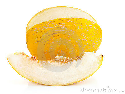 Yellow melon with cut