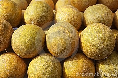 Yellow melon fruits market stacked rows