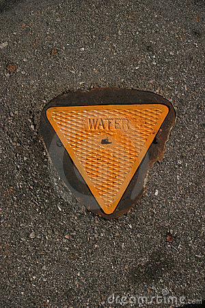 Yellow metal water ground cover on cement