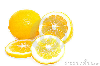Yellow Meyer Lemons on White Background
