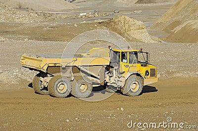Yellow mining dump truck