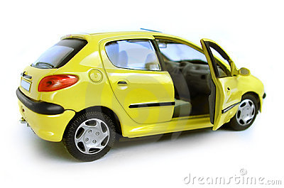 Yellow Model Car - Hatchback. Opened Right Door