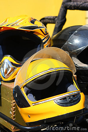 Yellow motobike helmet