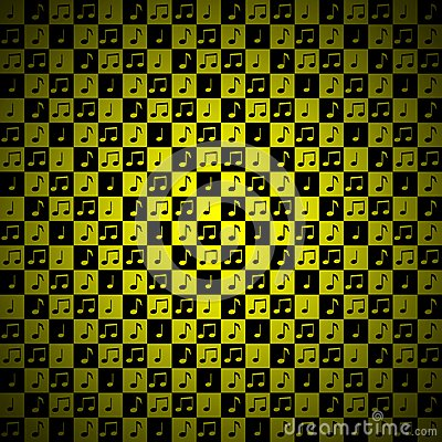 Yellow music note background