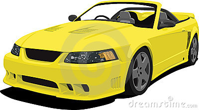 Yellow Mustang Convertible Sports Car