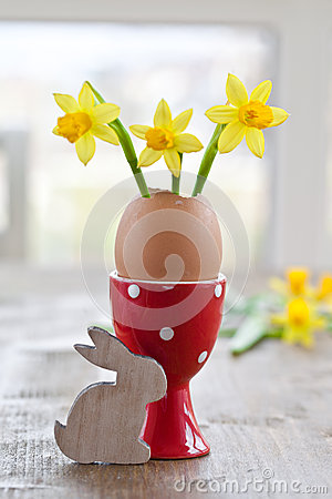 Free Yellow Narcissus In Egg Shell Royalty Free Stock Image - 38054576