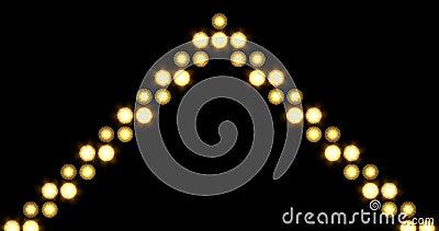 Single Golden Arrow LED Lights Background Moving Upwards stock video footage