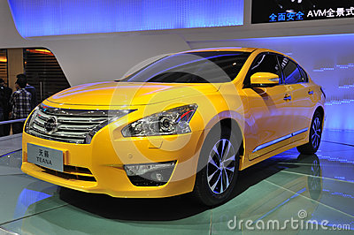 Yellow Nissan Teana Editorial Stock Photo