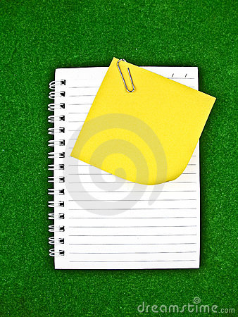 Yellow note and notebook Paper