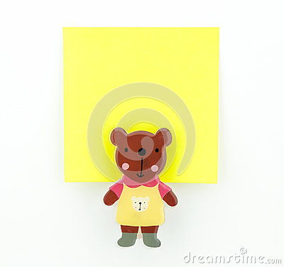 Yellow note pad with bear clip
