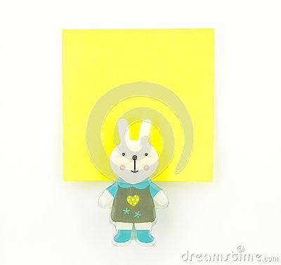 Yellow note pad with rabbit clip