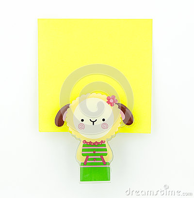 Yellow note pad with sheep clip