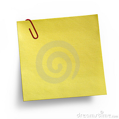 Yellow Note with paper clip