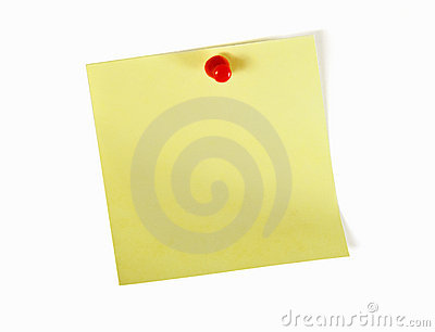 Yellow note with red pin