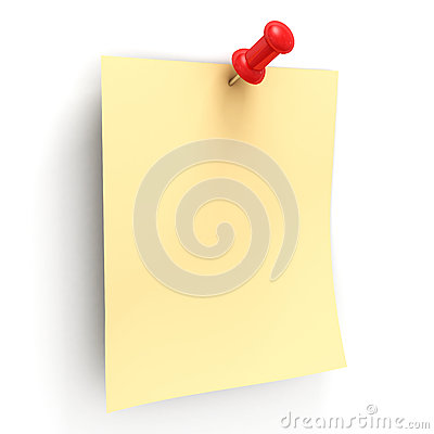 Yellow note with red pin on white background