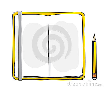 Yellow notebook and pencil hand drawn cute vector illustration Vector Illustration