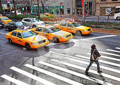 Yellow NYC taxi s Editorial Stock Image