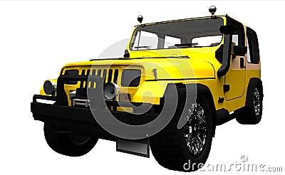 Yellow offroad 4x4 vehicle