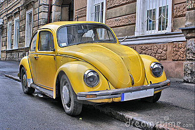 Yellow old car
