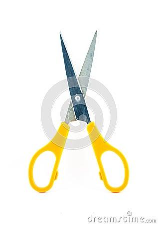 Yellow old scissors isolated