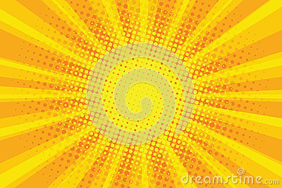 Yellow orange sun pop art retro rays background Vector Illustration