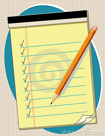 Free Yellow Pad Checklist, Pencil Royalty Free Stock Photo - 5518955