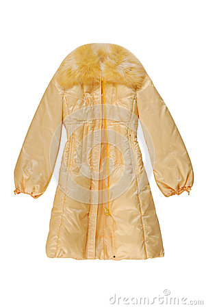 Yellow padded coat with has fastener