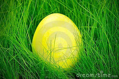Yellow painted Easter egg