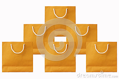 isolated white background.Yellow paper bag set