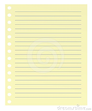 Yellow paper with blue lines