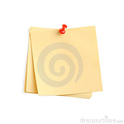 Yellow paper note with red pin