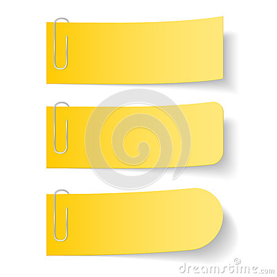 Yellow Paper Notes with Clips Vector Illustration