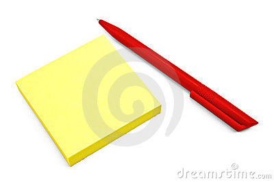 Yellow paper with a red pen