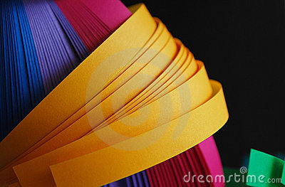 Paper strips of different colors