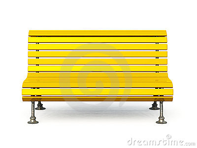 Yellow wooden park bench with metal legs, isolated on a white ...