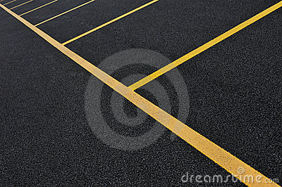 Yellow parking lot lines