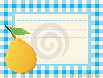 Yellow pear on chequered background