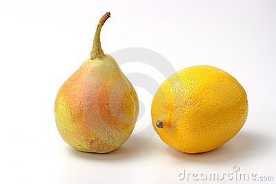 Yellow pear and lemon