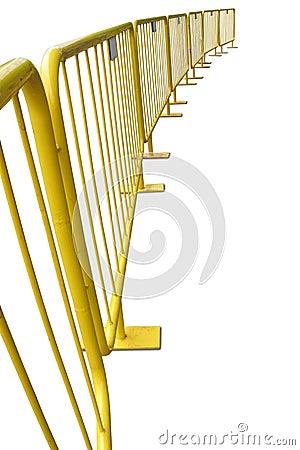 Yellow pedestrian barriers