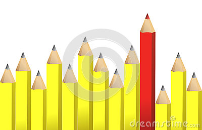 Yellow pencils and one red crayon