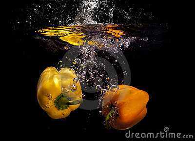 Yellow peppers in water